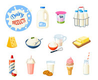 Set of cartoon food: dairy products Stock Photos