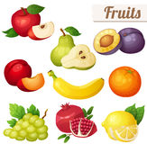 Set of cartoon food icons. Fruits isolated on white background Royalty Free Stock Images