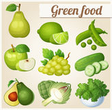 Set of cartoon food icons. Green food Royalty Free Stock Photo