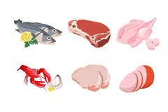 Set of cartoon food: meat cuts assortment-beef, pork, lamb, fish, chicken, eggs and sellfish. Set of beef, pork, chicken, fresh fish, eggs, fresh seafood Royalty Free Stock Images