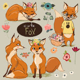 Set with Cartoon Fox. Set with cute cartoon fox with flowers Stock Photo