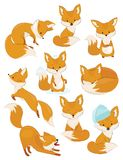 Set of cartoon foxes. Collection of cute foxes. Vector illustration for children. Wild animals. Set of cartoon foxes. Collection of cute foxes. Vector stock illustration