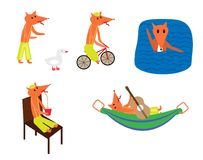 Set of cartoon foxes on vacation. vector illustration