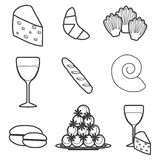 Set of cartoon french food objects Stock Photo