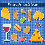 Set of cartoon french food stickers Stock Photo