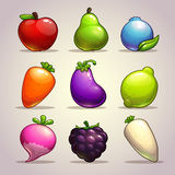 Set of cartoon fruits Stock Photo