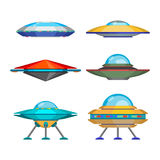 Set of cartoon funny aliens spaceships, vector illustration Royalty Free Stock Photography
