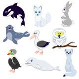 Set of cartoon funny arctic animals. royalty free illustration