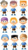 Set of cartoon funny boys with emotions,vector Royalty Free Stock Photo