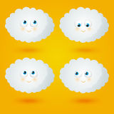 Set of cartoon funny clouds Royalty Free Stock Image