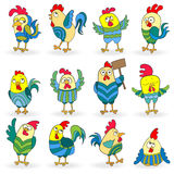 Set of cartoon funny colored roosters on a white background isolated Royalty Free Stock Photos