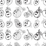 Set of cartoon funny fruit black and white Royalty Free Stock Photo