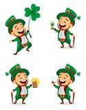 Set of cartoon funny leprechaun. Happy Saint Patrick`s Day. Character with green hat. Set of cartoon funny leprechaun with clover, beer, ale and smoking pipe Stock Image