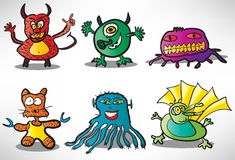 Set of cartoon funny monsters 2 Stock Photos