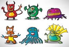 Set of cartoon funny monsters 2 Stock Photos