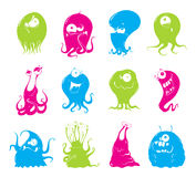 Set of cartoon funny monsters Royalty Free Stock Photo