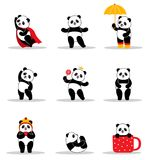 Set of cartoon funny pandas. stock illustration