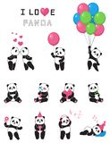 Set of cartoon funny pandas. Design element for baby shower card, scrapbook, invitation, baby goods and childish accessories. Isolated on white background Stock Photos