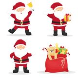 Set of cartoon funny santa clauses vector illustration