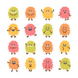 Set of cartoon funny smiley monsters. Collection of different cu Royalty Free Stock Image