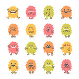 Set of cartoon funny smiley monsters. Collection of hand drawn d. Ifferent cute fluffy monsters characters. Vector illustration Stock Photo