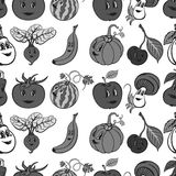 Set of cartoon funny vegetables and fruit gray Stock Photos