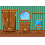 Set cartoon funny wooden furniture , Living room Stock Images