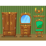 Set cartoon funny wooden retro furniture Royalty Free Stock Photography