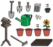 Set of Cartoon Gardening Tools Stock Image