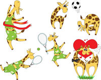 Set of cartoon giraffes playing football and tennis. Lovestory a Royalty Free Stock Photography