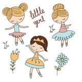 Set of cartoon girls. Cute ballerina girls on white background Stock Photos
