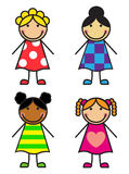 Set Cartoon Girls Royalty Free Stock Photo