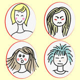 Set of cartoon girls faces with emotional expressions Royalty Free Stock Images