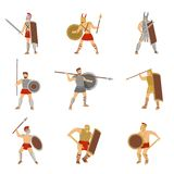 Set of roman warriors fighting with different weapons isolated on white background. royalty free illustration