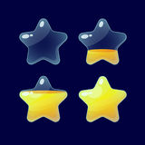 Set of Cartoon glossy Stars. Vector illustration.Set of Cartoon glossy Stars.Star isolated on a dark background.Game icon.Vector design for app user interface Stock Photo