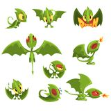 Set of cartoon green baby dragon character in different situations Royalty Free Stock Photos