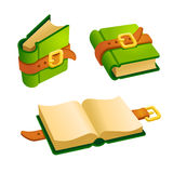 Set of cartoon green book. From different angles.Isolated vector elements for game design Stock Photography