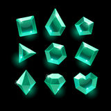 Set of cartoon green,emerald different shapes crystals. Gemstones,gems,diamonds vector gui assets collection for design.isolated vector elements.Gui elements Stock Photo