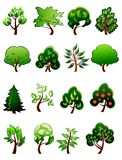 Set of  cartoon green plants and trees Royalty Free Stock Photo