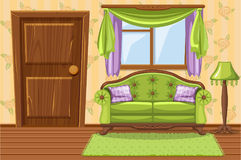 Set cartoon Green Vintage cushioned furniture, Living room Stock Images