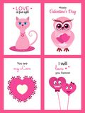 A set of cartoon greeting cards with typographical inscriptions. A set of cute greeting cards for Valentine `s Day, a wedding, a birthday Stock Photo