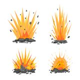 Set of cartoon ground explosions. Set of cartoon explosive shell on the ground with fire and stones Royalty Free Stock Photo