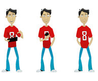 Set of cartoon guy with mobile app and laptop. Stock Photography