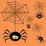 Set of cartoon halloween black spiders. Vector Illustration Stock Photos