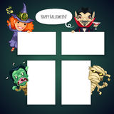 Set of Cartoon Halloween Characters Behind a White Stock Images