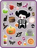 Set of cartoon Halloween sticker vector illustration
