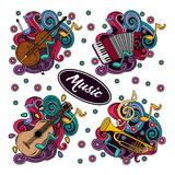 Set of Cartoon hand-drawn doodles Musical instruments illustration. Royalty Free Stock Photography