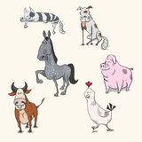 Set of cartoon hand drawn farm animals Royalty Free Stock Image