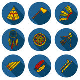 Set of cartoon hand drawn objects on injun theme Royalty Free Stock Photos