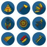 Set of cartoon hand drawn objects on injun theme Royalty Free Stock Photos